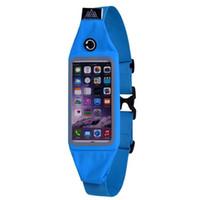 müzik tokaları toptan satış-Toptan- spor elastik su geçirmez spor koşu bel kemeri cüzdan çanta iphone dokunmatik ekran gerilebilir kayış toka müzik deliği