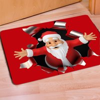 Wholesale Christmas Decoration Doormat Bathroom Coral Velvet Mats Super Absorbent Doormat Snow Non slip Mat cm New