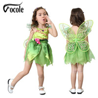Wholesale Tinker Bell Clothes - Vocole Children Girl's Deluxe Green Tinkerbell Fairy Costume Tinker Bell Princess Fancy Dress Halloween Cosplay Clothing
