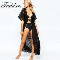 Wholesale Black Chiffon Beach Cover Up - High Quality Lace cover up long Beach dress Womens tunic Beach dress Saida de Praia Pareo Swimwear Cover up Beach dress