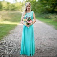 Wholesale Long Turquoise Dresses For Bridesmaids - Turquoise Lace Chiffon Long Bridesmaid Dresses 2017 Scoop Neckline Floor Length V Back Bridesmaid Gowns for Wedding