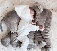 Wholesale Baby Sleep Back - New Fashion 60cm Large Size Plush Elephant Toy Kids Sleeping Back Cushion Elephant Doll Baby Doll Birthday Gift (Size: 60 cm, Color: Grey)