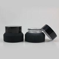 Wholesale Match Containers Wholesale - Wholesale- 15g High quality Oblique matte black cream jar Match black aluminum cap,15g glass cosmetic jar,glass jar or cream container