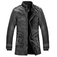 Wholesale Mens Leather Parka Coats - 2016 Winter Leather Jacket Men Slim Warm Mens washed Leather Motorcycle Biker Jackets Standing Collar Coat Outdoors parka