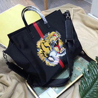 Wholesale Italian Tote Bags - women tote bag Italian luxury brand large shopping bags tiger head embroidered nylon handbags business laptop bag men shoulder bags 2017