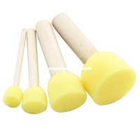 Wholesale Wholesale Language Learning Tools - 4 Set Yellow Sponge Paint Brush Seal Sponge Brush Wooden Handle Children's Painting Tool Graffiti Kids Diy Doodle Drawing Toys