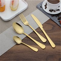 Wholesale Plated Flatware - Factory Supply Wholesale Gold Plated Cutlery, Shiny Gold Cutlery Set, Simple Design Gold Plated Flatware on Promotion