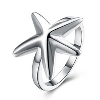 Wholesale Sterling Silver Plated Fashion Starfish ring code Jewelry LKNSPCR109