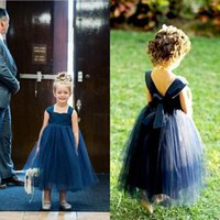 Wholesale Toddler Lace Navy Dresses - 2017 Toddler Beautiful Flower Girls Dresses Cheap Navy Blue Tulle Ball Gown Summer Kids Pageant Gowns