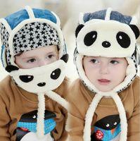 Wholesale Hats Panda Korean - Warm Newest Boys Girls Wool Winter Panda Baby Kids Cloak Coif Hood Korean Scarf Caps 2017 Cheap In Stock Children Hats Free Shipping