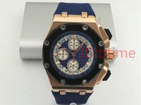 Wholesale Men Watch Royal - Luxury Brand silver Blue Sports Mens Watch Chronograph Stopwatch Royal Oak Offshore Limited Edition Lebron James Men Watches Wristwatch