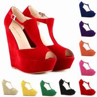 Wholesale Womens Red Wedge Shoes - Sapato Feminino Womens Ladies Platform Peep Toe Wedges Exclusive High Heels Shoes