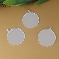 BoYuTe New Product 100Pcs 20MM 25MM Round Cameo Cabochon Base Setting Silver Plated Diy Pendant Blank Bezel Tray Copper Jewelry Findings