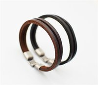 Wholesale Jade Mens Gifts - Vintage Bracelet for Women and Mens Fashion Leather 100% cowhide Leather Handmade bracelet Woven bracelet Free shipping TA146-1