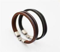 Wholesale Vintage Jade Beads - Vintage Bracelet for Women and Mens Fashion Leather 100% cowhide Leather Handmade bracelet Woven bracelet Free shipping TA146-1