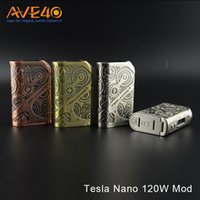 Wholesale nano displays online - Authentic Tesla Nano W TC Box Mod Two Hi rate Cell quot OLED Display Zinc Alloy