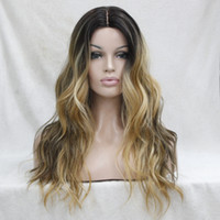 Wholesale Golden Brown Wigs - Do Not Cut Lace Front! Hot Quality Ombre Darkest Brown Mix Golden Blonde Wavy Small lace front long Wig