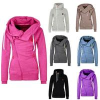Wholesale Wholesale Wool Jackets - 8 colors Women's Sports Personality Side Zipper Hooded Cardigan Sweater Jacket S-XXL