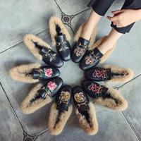 pele de coelho cabeça venda por atacado-Outono e inverno sapatos de lã mais sapatos preguiçosos estudantes casuais fundo plano de pele de coelho ervilhas quadradas cabeça mulheres sapatos