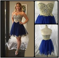 Wholesale Vestidos Homecoming Cortos - Sexy A Line Royal Blue and Gold Short Lace Homecoming Dresses 2017 Short 8th grade Graduation Gowns vestidos de 15 cortos