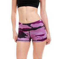 Womens Purple Camouflage Imprimir Sexy Slim Workout Yoga Shorts Verano Casual Skinny Belleza Fitness pantalones cortos