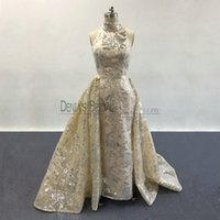 Wholesale Organza Satin Sequined Prom Dress - 2017 Blingbling Prom Dresses High Neck Silver Sequins Appliqued Nude Champagne Evening Gowns with Detachable Overskirt Real Pageant Dresses