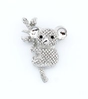 Wholesale Crystal Broaches - Koala Bear Brooch, Crystal Koala Broach, Rhinestone Silver Bouquet Brooches, Pillow Frame Decor Brooches