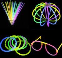 Wholesale Led Xmas Bracelets - Wholesale- 100pcs High Quality Multi Color Glow Stick Bracelets Glowsticks light stick flashing led toys Xmas Christmas Party Supplies