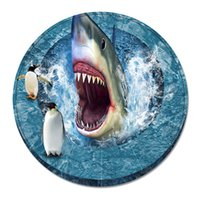 Wholesale Carpet Padding Sizes - Round flannel carpet 3D shark eye pad ocean world pattern 10 colors to choose from size 55cm