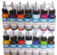 pigmento de maquillaje permanente color al por mayor-14 colores 14 unidades / lote conjunto de tintas para tatuaje pigmentos maquillaje permanente 30 ml color cosmético tinta para tatuaje para delineador de cejas labio