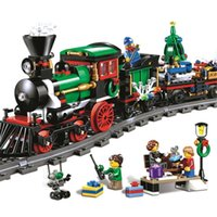 Wholesale Toys Train Sets - 770pcs Model Toys For Children Educational Building Blocks Christmas Winter Holiday Train Set Bricks Creative Series Kids Gifts