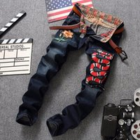 Wholesale Luxury Men Slim Straight Trousers - European American Style luxury Patchwork jeans Men's slim jeans denim trousers Straight blue famous brand jeans pants for men