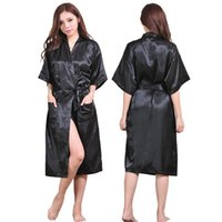 Wholesale White Wedding Night Lingerie - Wholesale- Plus Size Black Long Bride Bridesmaids Robe Sexy Lingerie Women's Wedding Party Kimono Robes Night Dress Woman Sleepwear Pajamas