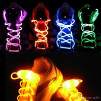 30pcs (15 paires) 2017 New Arrival Cool Fashion LED Shoelaces Chaussures Luminaires Flash Light Up Glow Stick Strap Flat Shoelaces Disco Party pour Chaussures