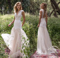 Wholesale Embellished Wedding Dresses - limor rosen 2017 bridal sleeveless v neck heavily embellished bodice romantic drop waist tulle skirt a line wedding dresses low back sweep