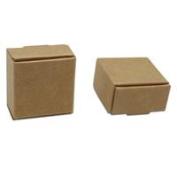 box für schokoladenverpackung großhandel-Kleine 3,7 * 3,7 * 2 cm Kraftpapier Box Geschenk Verpackung Box für Schmuck DIY Handgemachte Seife Hochzeit Süßigkeiten Bäckerei Kuchen Cookies schokolade Backbox