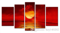 Wholesale Large Sunset Canvas - YIJIAHE Fashion Canvas Painting Art Red Sunset 5 Pictures Print On Canvas Large 5 Piece Wall Pictures For Living Room FJ21
