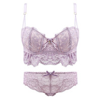 Wholesale White Bra 36b - High quality women push up cute bra sets sexy Lovely lace bra set fresh girl underwear lingerie sets side gather bra +panties