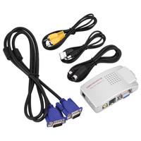 vga ntsc adapter großhandel-Universal NTSC PAL VGA zu TV AV RCA Signal Adapter Konverter Video Switch Box Composite für Computer Laptop PC