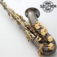 Wholesale Saxophone Selmer - France Selmer R-54 B flat tenor saxophone black nickel gold instrument playing professionally Rose carved flowers free shipping