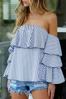 Wholesale Shirts Butterfly Sleeves - 2017010328 Off shoulder stripe women blouses Summer elegant butterfly sleeve blouse shirt Causal christmas 2016 cool blouse blusas