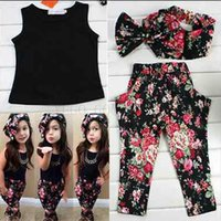 Wholesale Fashion floral casual suit children clothing set sleeveless outfit headband flower summer new kids girls clothes set