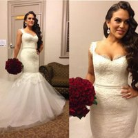 Wholesale Strapless Wedding Reception Dresses - Stunning Two Straps Mermaid Wedding Dresses Lace High Quality Sweep Train Plus Size Bridal Gowns Custom Made Reception Dress for Bride