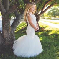 Wholesale Little Mermaid Ribbon - 2017 white ivory cute satin mermaid flower girl dress puffy tulle little bride girls dress for wedding party vestido de daminha