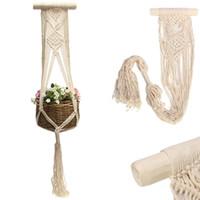 cuerda artificial al por mayor-Colgador de plantas 40 Pulgadas Macrame Vintage Florero Titular de la Cuerda Cuerda Colgante Arte de la Pared Home Balcón Decoración Jardín Suministros