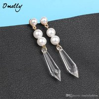 Designer Crystal Pearl Boucles d'oreilles Charms Gold Filled Fashion Imitation Pearl Dangle Chandiler Boucles d'oreilles Stud Jewelry Wholesale in Bulk Omelly