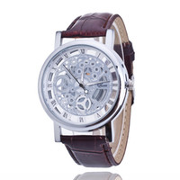 Wholesale Double Han - Geneva Ms Hot style Foreign trade hot style ms han edition men's watch double-sided hollow-out the mechanical watch students leisure leather