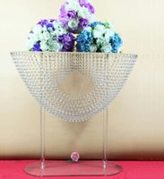 Wholesale Clear Tables - 6pcs 2 sizes oval shape crystal acrylic beaded wedding centerpieces flower stand table decor for wedding event party decoration
