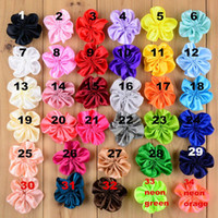 Wholesale Order Lace Ribbons - baby bonnets girl hair accessories 5CM solid ribbon five petal FLOWER DRESS kids cap accessories flower girl headband 34 color mix order