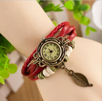 Wholesale Leather Vintage Watch Wholesale - FREE SHIPPING 2017 New Arrival Fashion Leather Vintage Watch Bracelet Wristwatches For Women Dress Watch Leaf Butterfly Dropshipping 100pcs